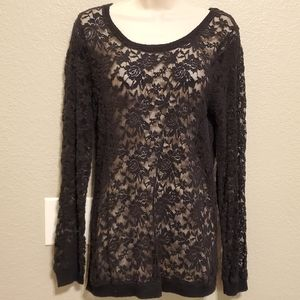 MAURICES Stretch Lace Sheer Tunic